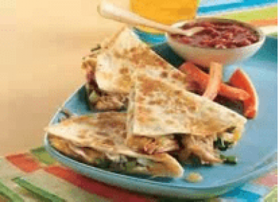 CHICKEN CHILE` CHEESE QUESADILLA